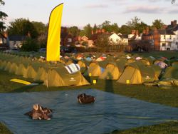 Tents of the yellow color zone